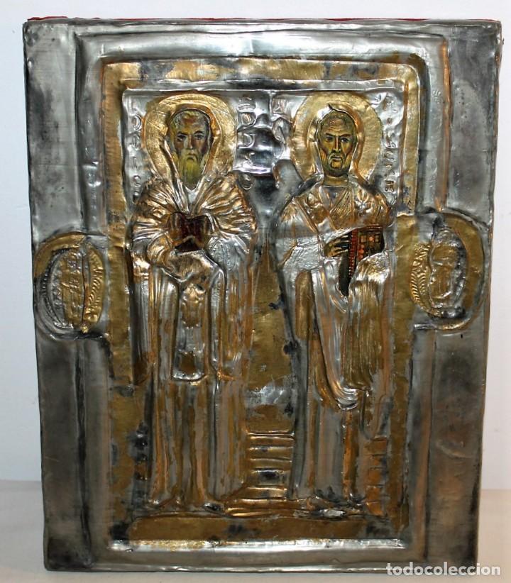 ICONO RUSO CON SANTOS ORTODOXOS - ESTAÑO REPUJADO SOBRE MADERA - SELLO LACRE INICIALES DH - H.1940 (Arte - Arte Religioso - Iconos)