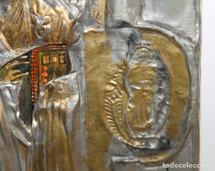 Arte: ICONO RUSO CON SANTOS ORTODOXOS - ESTAÑO REPUJADO SOBRE MADERA - SELLO LACRE INICIALES DH - H.1940 - Foto 6 - 148613630