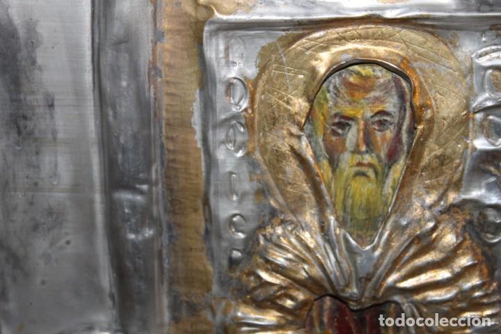Arte: ICONO RUSO CON SANTOS ORTODOXOS - ESTAÑO REPUJADO SOBRE MADERA - SELLO LACRE INICIALES DH - H.1940 - Foto 7 - 148613630