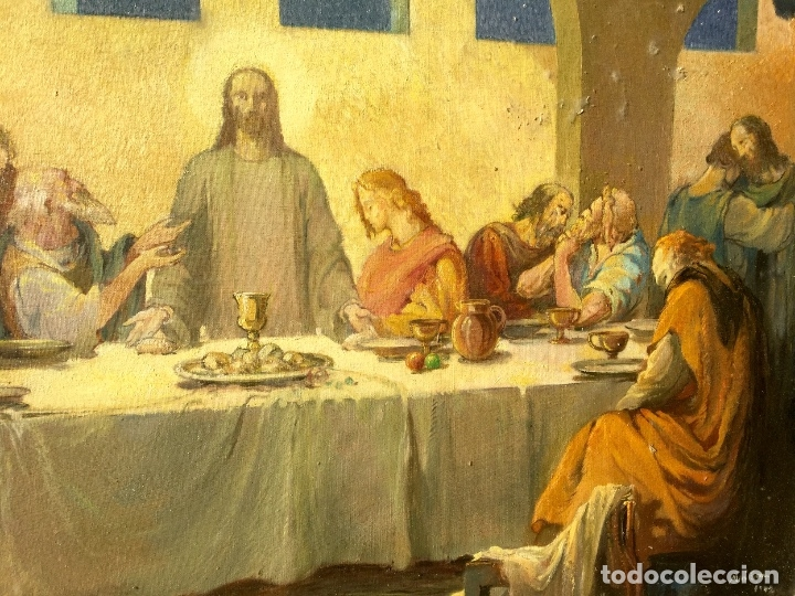 Arte: ADRIÀ GUAL QUERALT (BCN 1872-1943) (100x72,5 cm) LA ÚLTIMA CENA pieza de coleccionista - Foto 13 - 127431079