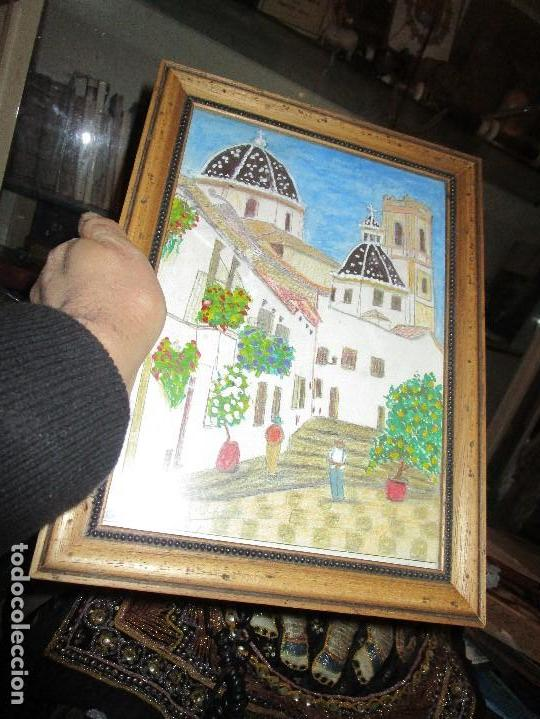 Arte: DIBUJO ORIGINAL ALTEA ALICANTE FIRMADO J , ACEDO CON MARCO MADERA Y CRISTAL PROTECTOR - Foto 3 - 148697882