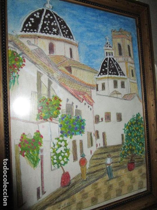 Arte: DIBUJO ORIGINAL ALTEA ALICANTE FIRMADO J , ACEDO CON MARCO MADERA Y CRISTAL PROTECTOR - Foto 2 - 148697882