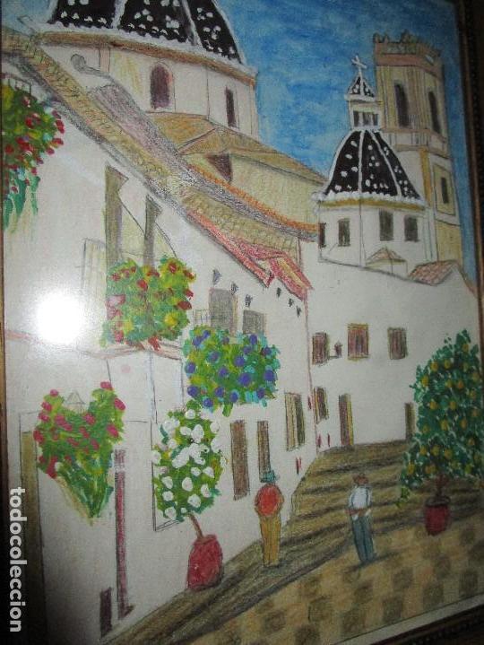 Arte: DIBUJO ORIGINAL ALTEA ALICANTE FIRMADO J , ACEDO CON MARCO MADERA Y CRISTAL PROTECTOR - Foto 4 - 148697882