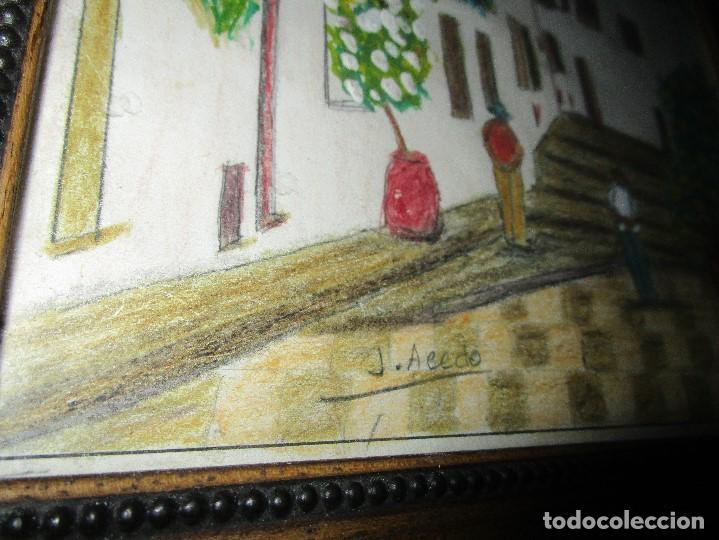 Arte: DIBUJO ORIGINAL ALTEA ALICANTE FIRMADO J , ACEDO CON MARCO MADERA Y CRISTAL PROTECTOR - Foto 5 - 148697882