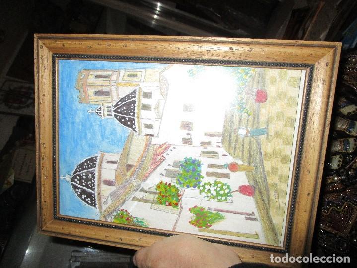 Arte: DIBUJO ORIGINAL ALTEA ALICANTE FIRMADO J , ACEDO CON MARCO MADERA Y CRISTAL PROTECTOR - Foto 7 - 148697882
