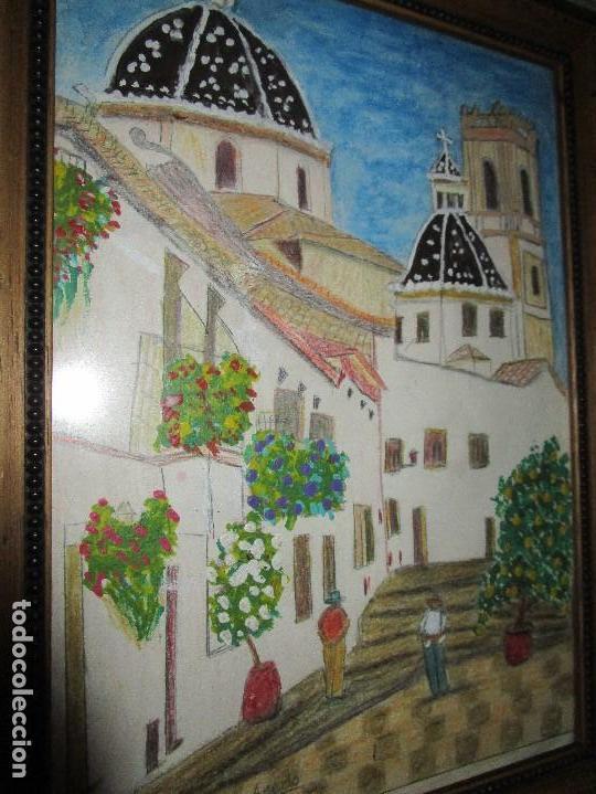 Arte: DIBUJO ORIGINAL ALTEA ALICANTE FIRMADO J , ACEDO CON MARCO MADERA Y CRISTAL PROTECTOR - Foto 6 - 148697882