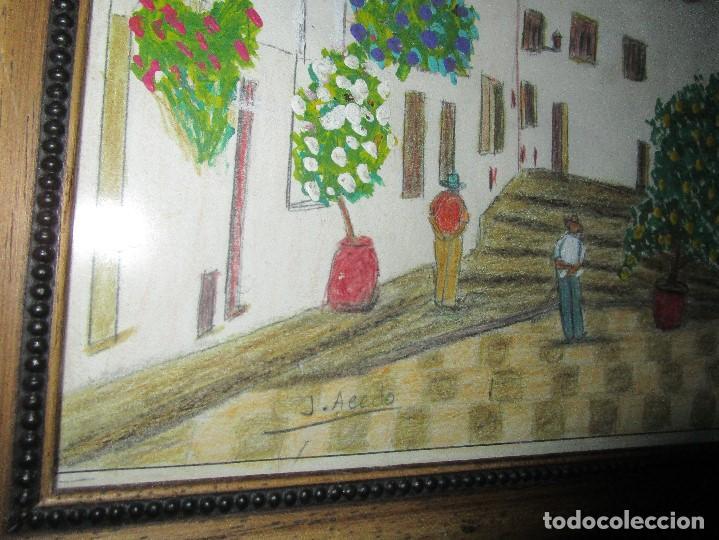 Arte: DIBUJO ORIGINAL ALTEA ALICANTE FIRMADO J , ACEDO CON MARCO MADERA Y CRISTAL PROTECTOR - Foto 8 - 148697882