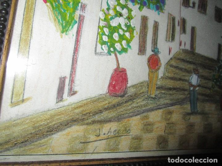 Arte: DIBUJO ORIGINAL ALTEA ALICANTE FIRMADO J , ACEDO CON MARCO MADERA Y CRISTAL PROTECTOR - Foto 9 - 148697882