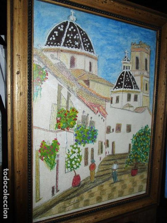 DIBUJO ORIGINAL ALTEA ALICANTE FIRMADO J , ACEDO CON MARCO MADERA Y CRISTAL PROTECTOR (Arte - Arte Religioso - Pintura Religiosa - Acuarela)