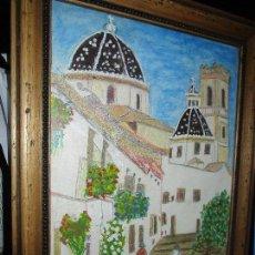 Arte: DIBUJO ORIGINAL ALTEA ALICANTE FIRMADO J , ACEDO CON MARCO MADERA Y CRISTAL PROTECTOR. Lote 148697882