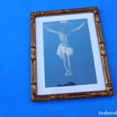Arte: CRISTO PARA CABECERA, MARCO DE BAMBÚ, 38 X 30 CM. . Lote 148699210