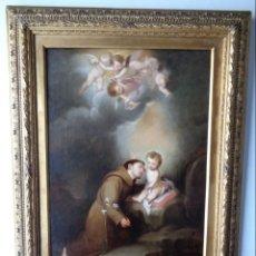Arte: JUAN CABRAL BEJARANO (SEVILLA, 1834-?) VERSIÓN DE MURILLO, SAN ANTONIO DE PADUA CON EL NIÑO.. Lote 148775222