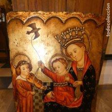 Arte: ICONO PINTURA RELIGIOSA SOBRE MADERA. COPIA DE LOS AÑOS 40/50 VIRGEN MARÍA CON EL NIÑO.50 X 75 CMS.. Lote 148834498