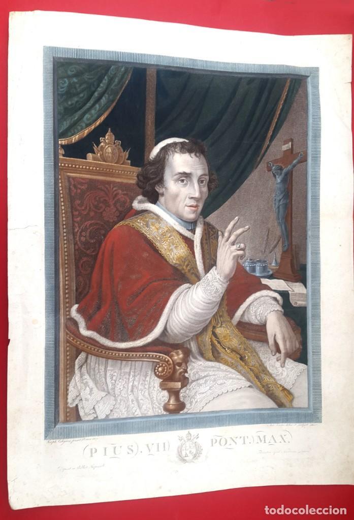 GRABADO - PAPA PIO VII- 1810 - COLOREADO (Arte - Arte Religioso - Grabados)