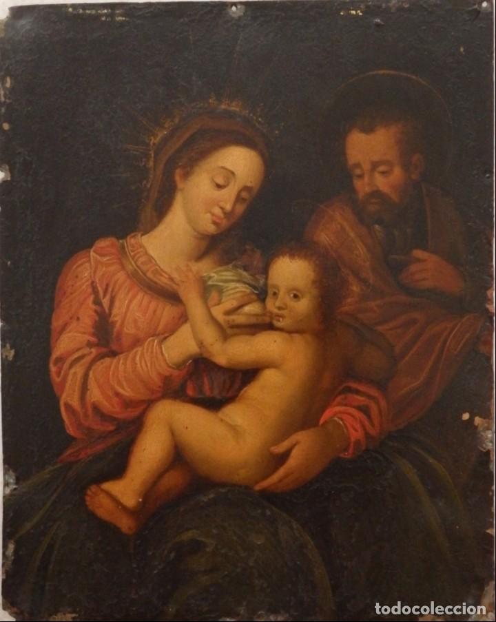 LA SAGRADA FAMILIA. ÓLEO SOBRE COBRE DE LA ESCUELA ESPAÑOLA DE LOS SIGLOS XVII-XVIII. 26 X 21 CM. (Arte - Arte Religioso - Pintura Religiosa - Oleo)