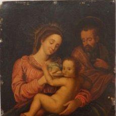 Arte: LA SAGRADA FAMILIA. ÓLEO SOBRE COBRE DE LA ESCUELA ESPAÑOLA DE LOS SIGLOS XVII-XVIII. 26 X 21 CM.. Lote 148998542