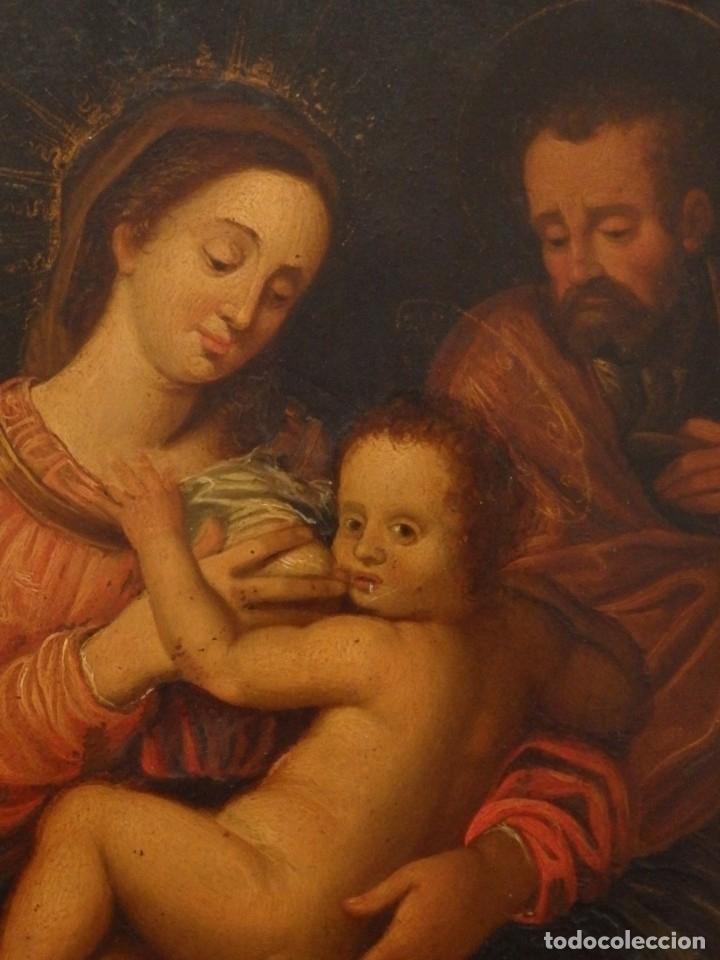 Arte: La Sagrada Familia. Óleo sobre cobre de la Escuela Española de los siglos XVII-XVIII. 26 x 21 cm. - Foto 2 - 148998542