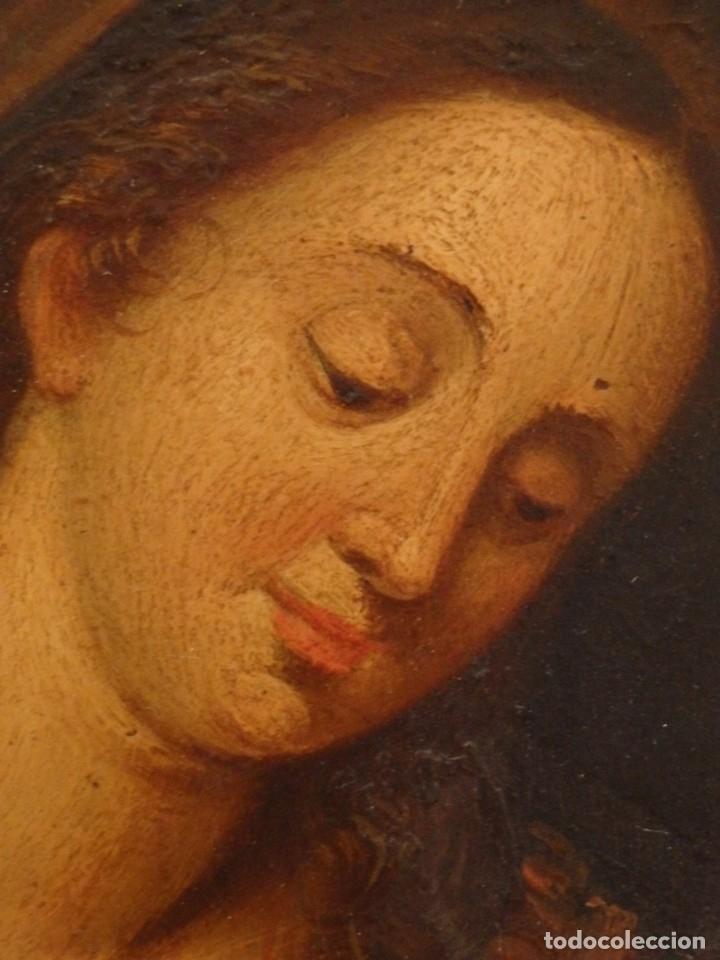 Arte: La Sagrada Familia. Óleo sobre cobre de la Escuela Española de los siglos XVII-XVIII. 26 x 21 cm. - Foto 7 - 148998542