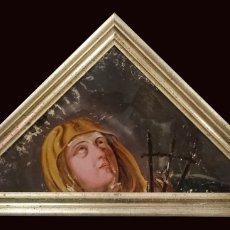 Arte: ANTIGUO ÓLEO BAJO/SOBRE CRISTAL VIRGEN DOLOROSA CON PUÑALES. MARCO ORO FINO. SIGLO XVII. 68X34CM. Lote 149330754