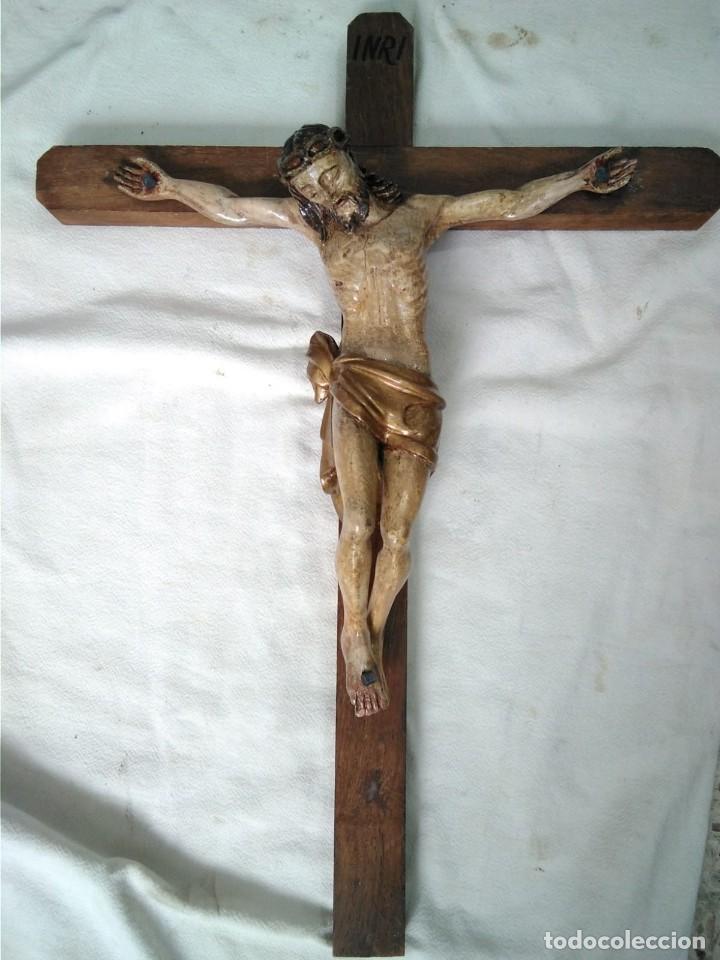 CRUCIFICADO MADERA MUY ANTIGUO (Arte - Arte Religioso - Escultura)