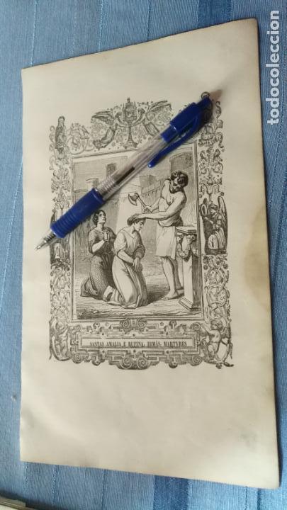 1887 ANTIGUO GRABADO PORTUGUES RELIGIOSO - SANTAS AMALIA E RUFINA IRMAS MARTYRES (Arte - Arte Religioso - Grabados)