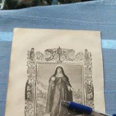 Arte: 1887 ANTIGUO GRABADO PORTUGUES RELIGIOSO - SANTA CLARA VIRGEM - VIRGEN SANTA CLARA. Lote 149461046