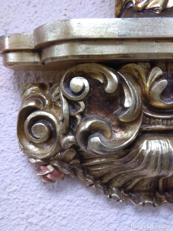Arte: virgen del Pilar madera y repisa espectacular de madera - Foto 3 - 149497194