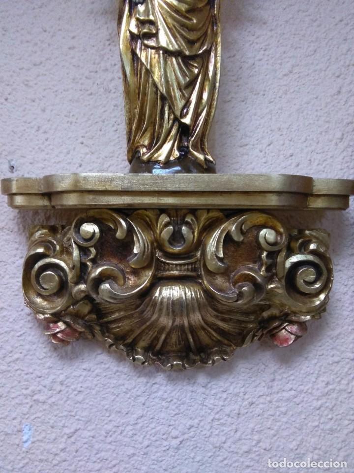 Arte: virgen del Pilar madera y repisa espectacular de madera - Foto 4 - 149497194
