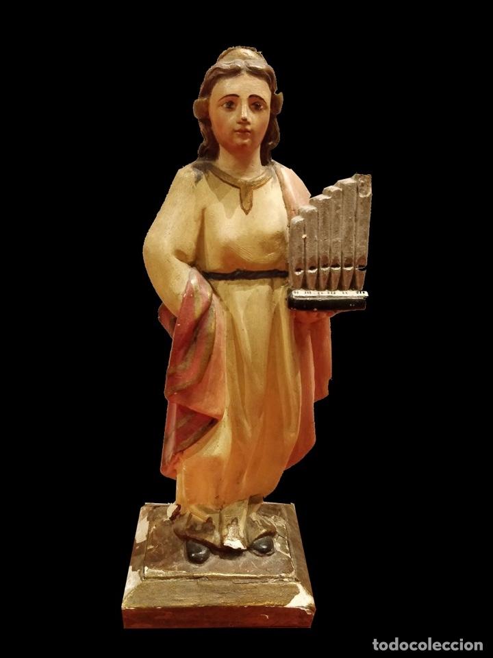 ANTIGUA TALLA DE SANTA CECILIA DE MADERA DE NOGAL POLICROMADA. SIGLO XIX. PATRONA DE LA MÚSICA. (Arte - Arte Religioso - Escultura)