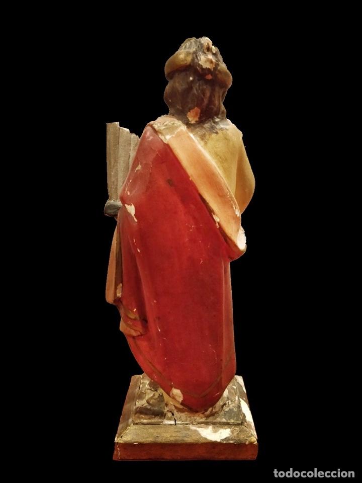 Arte: Antigua talla de Santa Cecilia de madera de nogal policromada. Siglo XIX. Patrona de la música. - Foto 2 - 113404899