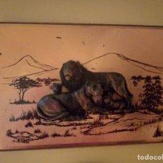 Arte: CUADRO GRABADO EN METAL. TRES DIMENSIONES. LOS LEONES SON DE MADERA. SOBRESALEN. Lote 149589306
