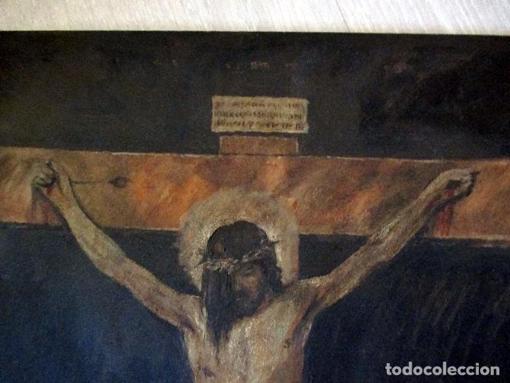 Arte: CRISTO. CRUCIFICADO. TABLILLA. ÓLEO. 40 X 30 CM. FIRMADO RUEDA, - Foto 2 - 149599606
