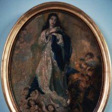 Arte: ANTIGUA PINTURA RELIGIOSA, OLEO SOBRE LIENZO PEGADO A TABLA, CON MARCO OVALADO EN PAN DE ORO.. Lote 149619137