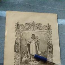 Arte: 1887 ANTIGUO GRABADO PORTUGUES RELIGIOSO - NOSSA SENHORA DAS MERCES - VIRGEN DE LA MERCE MERCEDES. Lote 149636750