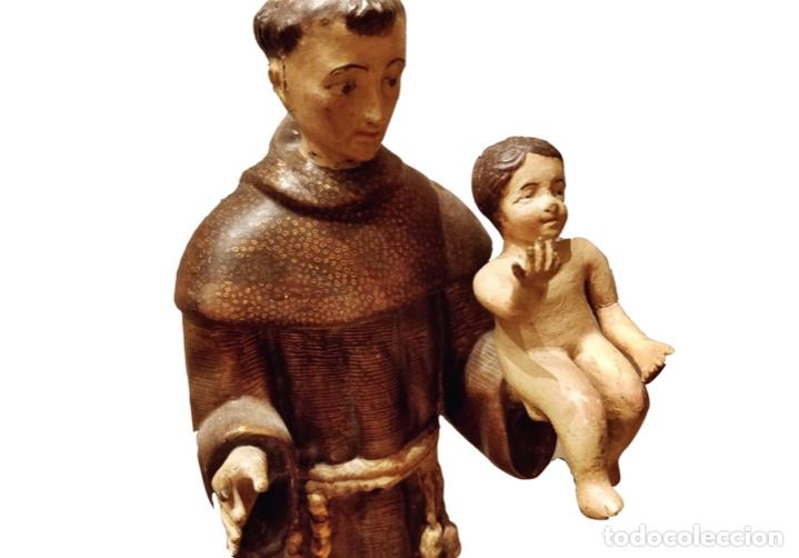 ANTIGUO SAN ANTONIO , TALLA DE MADERA DE NOGAL POLICROMADO. SIGLO XVIII. PRECIOSO. (Arte - Arte Religioso - Escultura)