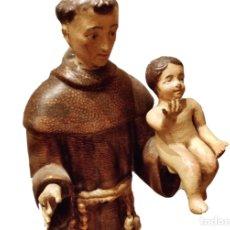 Arte: ANTIGUO SAN ANTONIO , TALLA DE MADERA DE NOGAL POLICROMADO. SIGLO XVIII. PRECIOSO.47 CM. Lote 113404839