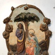 Arte: RELIEVE DE LA SAGRADA FAMILIA DE ESTUCO ANTIGUO PARA RESTAURAR.. Lote 149811466