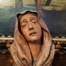 Arte: PRECIOSO BUSTO ANTIGUO DE VIRGEN DOLOROSA EN TERRACOTA FIRMADO Y FECHADO. Lote 149865732