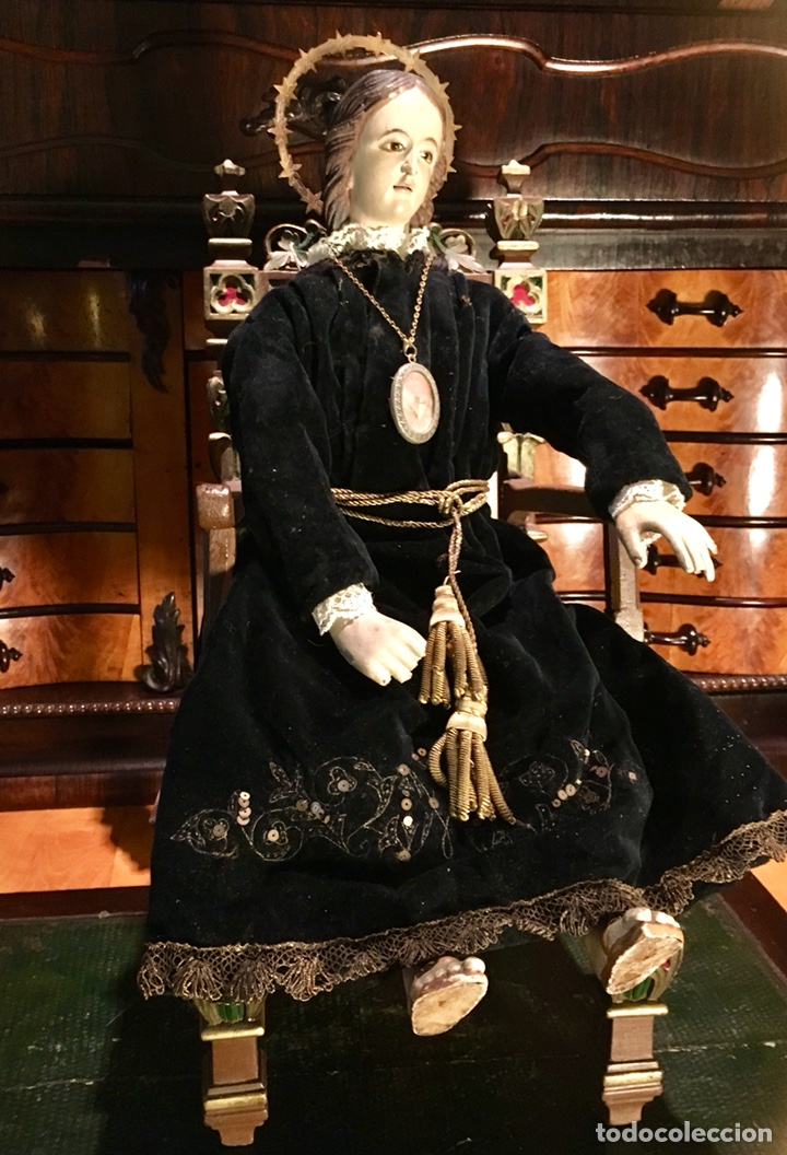 VIRGEN ARTICULADA CAP I POTA EN TRONO; MADERA DEL S.XIX (Arte - Arte Religioso - Escultura)