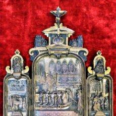Arte: TRÍPTICO - BENDITERA. COBRE CHAPADO EN ORO Y PLATA. ESTILO RENACIMIENTO.FRANCIA. XIX. Lote 149975018