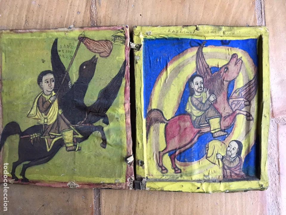 ICONO ETÍOPE, DIPTICO , SIGLO XVII. TEMPERA SOBRE MADERA. (Arte - Arte Religioso - Iconos)
