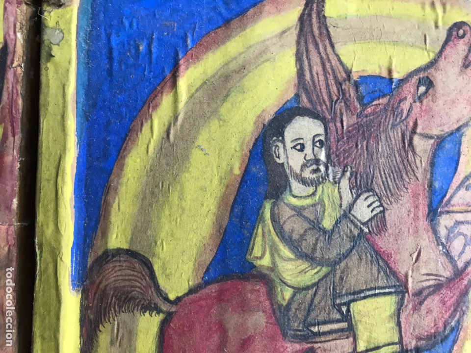 Arte: Icono Etíope, diptico , siglo XVII. Tempera sobre madera. - Foto 4 - 149990069