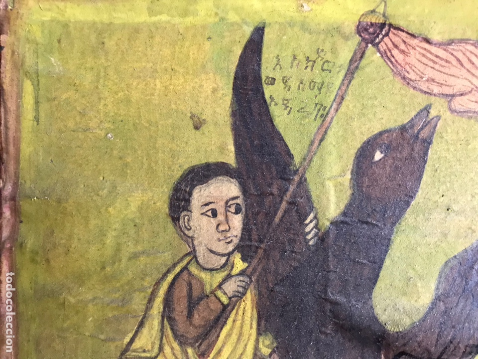 Arte: Icono Etíope, diptico , siglo XVII. Tempera sobre madera. - Foto 7 - 149990069