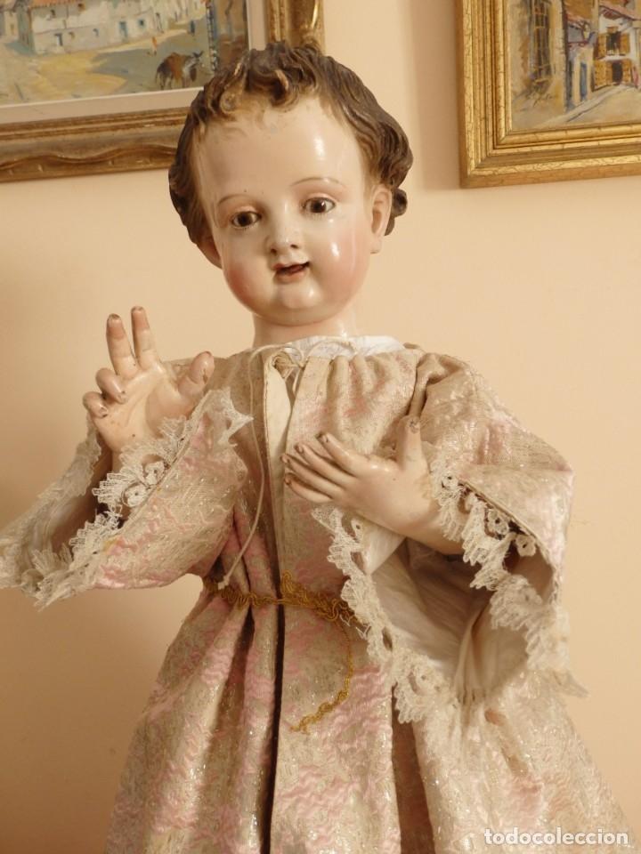 Arte: Niño Jesús. Escultura vestidera o cap i pota en madera policromada. 70 cm. Granada. S. XVIII. - Foto 17 - 134050710