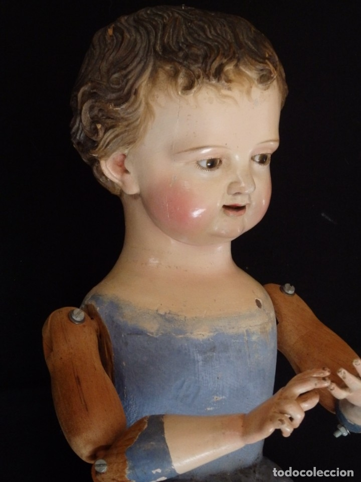 Arte: Niño Jesús. Escultura vestidera o cap i pota en madera policromada. 70 cm. Granada. S. XVIII. - Foto 5 - 134050710