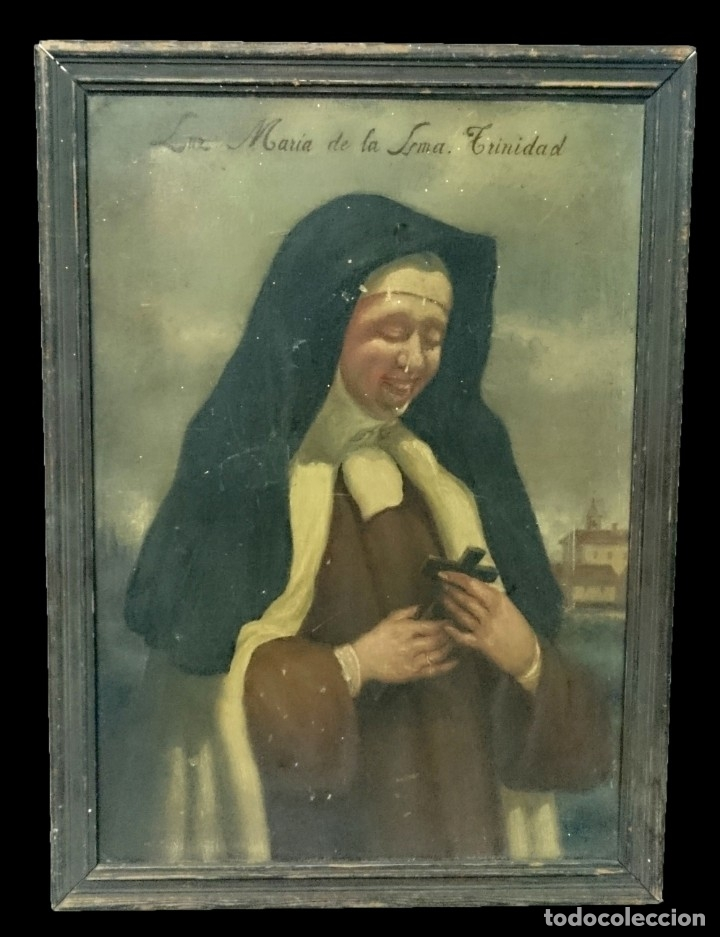 ANTIGUO ÓLEO SOBRE CARTÓN DE LUZ MARÍA DE LA SANTA TRINIDAD. SIGLO XIX. 57X42 CM (Arte - Arte Religioso - Pintura Religiosa - Oleo)