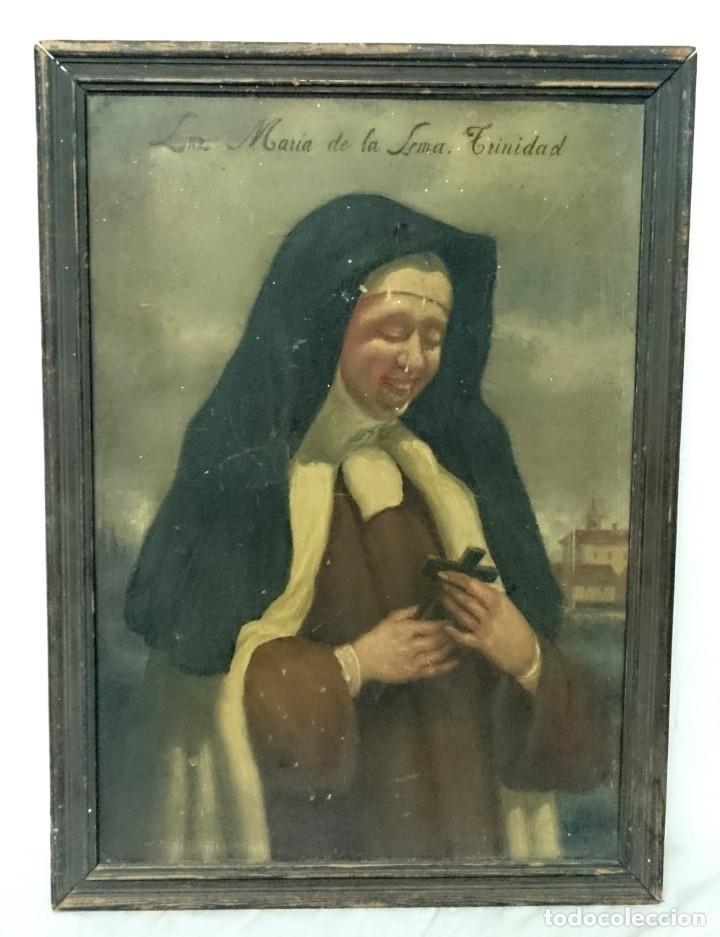 Arte: Antiguo óleo sobre cartón de Luz María de la Santa Trinidad. Siglo XIX. 57X42 CM - Foto 2 - 150037730