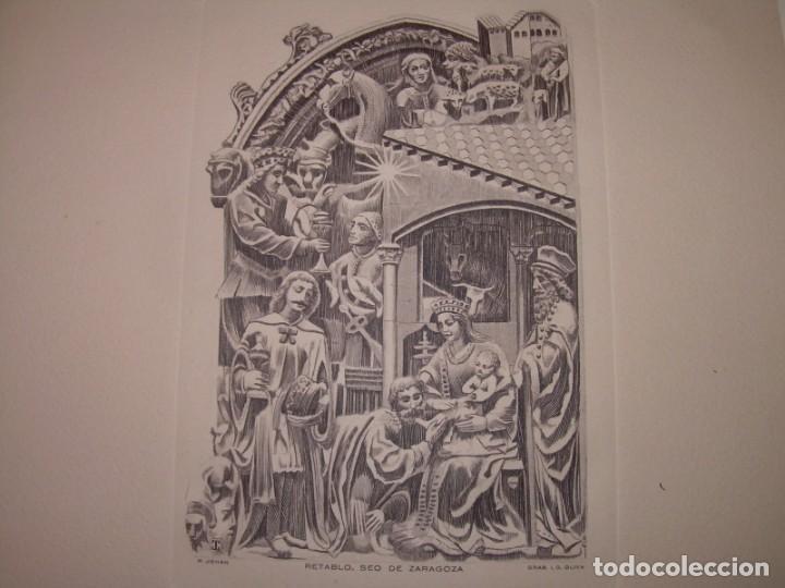 ANTIGUO GRABADO...P.JOHAN..... GRABADOR. O.G. OLIVA....RETABLO DE LA SEO DE ZARAGOZA. (Arte - Arte Religioso - Grabados)