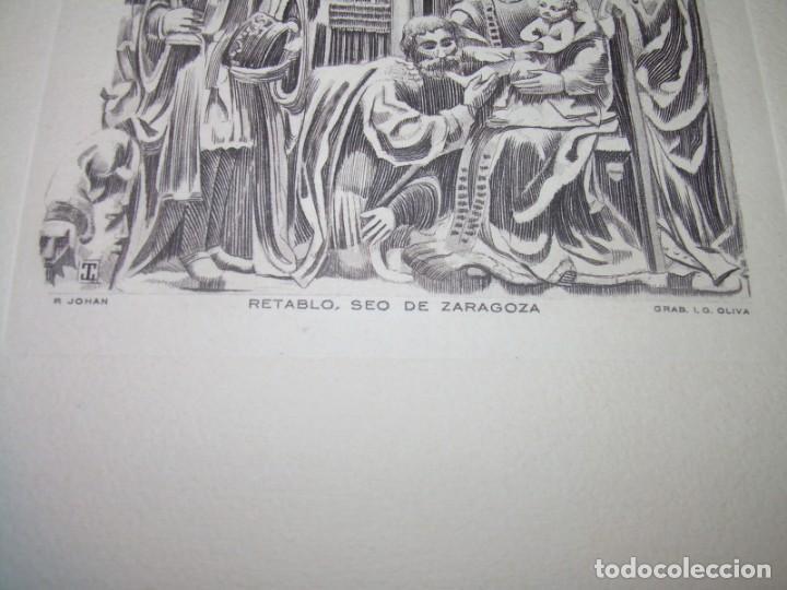 Arte: ANTIGUO GRABADO...P.JOHAN..... GRABADOR. O.G. OLIVA....RETABLO DE LA SEO DE ZARAGOZA. - Foto 3 - 150739594