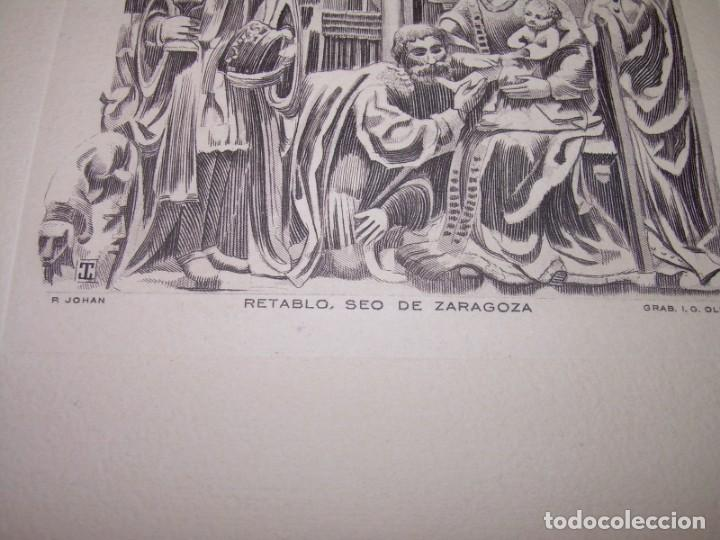Arte: ANTIGUO GRABADO...P.JOHAN..... GRABADOR. O.G. OLIVA....RETABLO DE LA SEO DE ZARAGOZA. - Foto 4 - 150739594